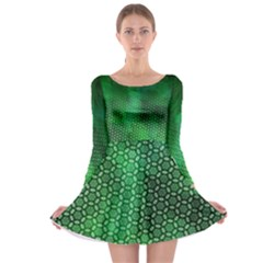 Ombre Green Abstract Forest Long Sleeve Skater Dress by DanaeStudio