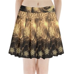Golden feather and ball decoration Pleated Mini Skirt by picsaspassion
