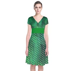 Ombre Green Abstract Forest Short Sleeve Front Wrap Dress by DanaeStudio