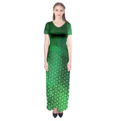 Ombre Green Abstract Forest Short Sleeve Maxi Dress by DanaeStudio
