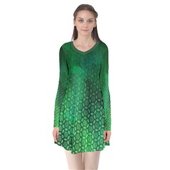 Ombre Green Abstract Forest Long Sleeve V-neck Flare Dress by DanaeStudio