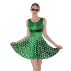 Ombre Green Abstract Forest Skater Dress by DanaeStudio