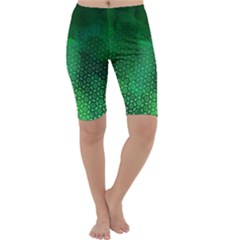 Ombre Green Abstract Forest Cropped Leggings  by DanaeStudio