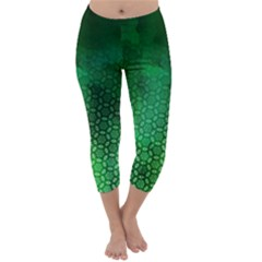 Ombre Green Abstract Forest Capri Winter Leggings  by DanaeStudio