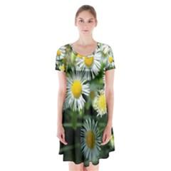 White summer flowers oil painting art Short Sleeve V-neck Flare Dress
