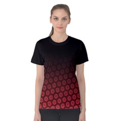 Ombre Black And Red Pasion Floral Pattern Women s Cotton Tee by DanaeStudio