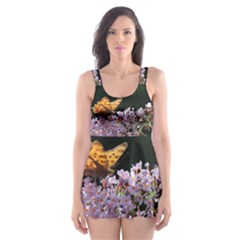 Butterfly Sitting On Flowers Skater Dress Swimsuit by picsaspassion