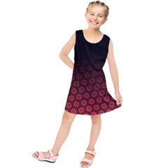 Ombre Black And Red Passion Floral Pattern Kids  Tunic Dress by DanaeStudio