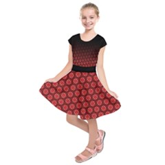 Ombre Black and Red Passion Floral Pattern Kids  Short Sleeve Dress