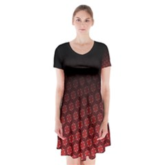 Ombre Black And Red Passion Floral Pattern Short Sleeve V Neck Flare Dress by DanaeStudio