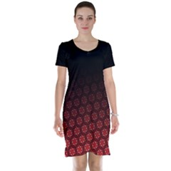 Ombre Black And Red Passion Floral Pattern Short Sleeve Nightdress by DanaeStudio