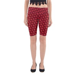 Red Passion Floral Pattern Yoga Cropped Leggings by DanaeStudio