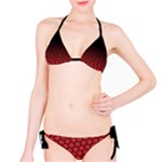 Ombre Black and Red Passion Floral Pattern Bikini