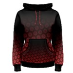 Ombre Black and Red Passion Floral Pattern Women s Pullover Hoodie