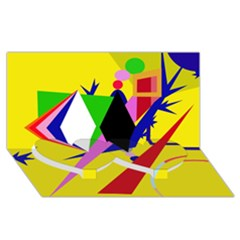 Yellow Abstraction Twin Heart Bottom 3d Greeting Card (8x4) by Valentinaart