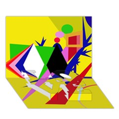 Yellow Abstraction Love Bottom 3d Greeting Card (7x5) by Valentinaart