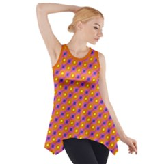 Vibrant Retro Diamond Pattern Side Drop Tank Tunic by DanaeStudio