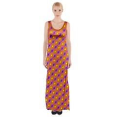 Vibrant Retro Diamond Pattern Maxi Thigh Split Dress by DanaeStudio