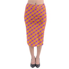 Vibrant Retro Diamond Pattern Midi Pencil Skirt by DanaeStudio