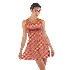 Vibrant Retro Diamond Pattern Cotton Racerback Dress by DanaeStudio