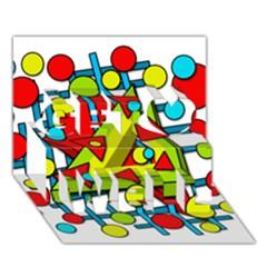 Crazy Geometric Art Get Well 3d Greeting Card (7x5) by Valentinaart