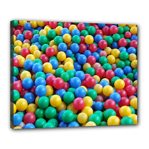 Funny Colorful Red Yellow Green Blue Kids Play Balls Canvas 20  X 16  by yoursparklingshop