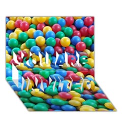 Funny Colorful Red Yellow Green Blue Kids Play Balls You Are Invited 3d Greeting Card (7x5) by yoursparklingshop