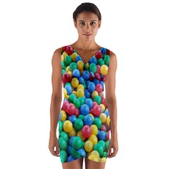 Funny Colorful Red Yellow Green Blue Kids Play Balls Wrap Front Bodycon Dress by yoursparklingshop