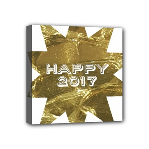 Happy New Year 2017 Gold White Star Mini Canvas 4  X 4  by yoursparklingshop