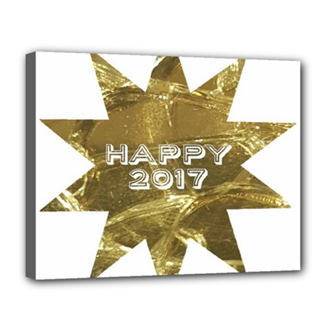 Happy New Year 2017 Gold White Star Canvas 14  x 11  by yoursparklingshop