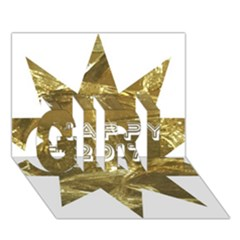 Happy New Year 2017 Gold White Star GIRL 3D Greeting Card (7x5) by yoursparklingshop