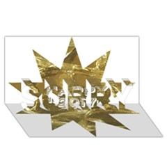 Happy New Year 2017 Gold White Star Sorry 3d Greeting Card (8x4) by yoursparklingshop