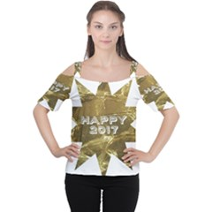 Happy New Year 2017 Gold White Star Women s Cutout Shoulder Tee by yoursparklingshop