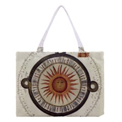 Ancient Aztec Sun Calendar 1790 Vintage Drawing Medium Tote Bag by yoursparklingshop