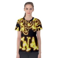 Happy Diwali Yellow Black Typography Women s Cotton Tee by yoursparklingshop