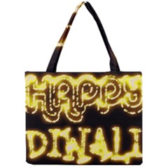 Happy Diwali Yellow Black Typography Mini Tote Bag by yoursparklingshop