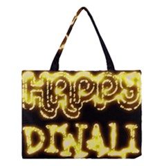 Happy Diwali Yellow Black Typography Medium Tote Bag by yoursparklingshop