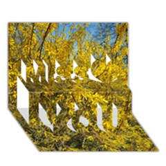 Nature, Yellow Orange Tree Photography Miss You 3d Greeting Card (7x5) by yoursparklingshop