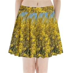Nature, Yellow Orange Tree Photography Pleated Mini Skirt by yoursparklingshop