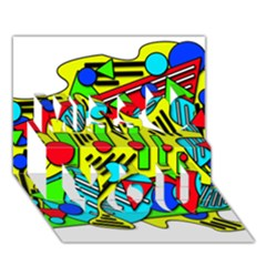 Colorful Chaos Miss You 3d Greeting Card (7x5)