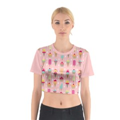 Ice Cream and Cupcake Sweet Tooth Pattern Cotton Crop Top by LisaGuenDesign