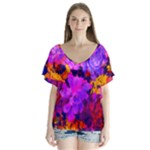 Purple Painted Floral and Succulents V-Neck Flutter Sleeve Top
