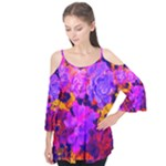 Purple Painted Floral and Succulents Flutter Sleeve Tee