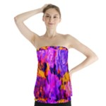 Purple Painted Floral and Succulents Strapless Top