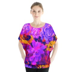 Purple Painted Floral And Succulents Batwing Chiffon Blouse by LisaGuenDesign