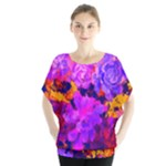 Purple Painted Floral and Succulents Batwing Chiffon Blouse
