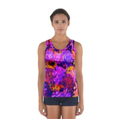 Purple Painted Floral And Succulents Women s Sport Tank Top  by LisaGuenDesign
