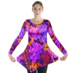 Purple Painted Floral and Succulents Long Sleeve Tunic