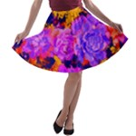 Purple Painted Floral and Succulents A-line Skater Skirt