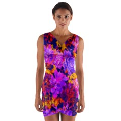 Purple Painted Floral And Succulents Wrap Front Bodycon Dress by LisaGuenDesign
